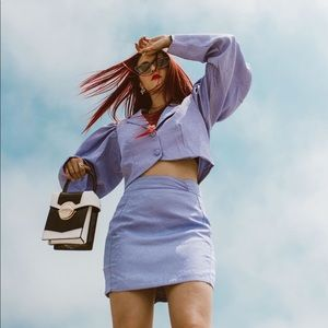 NastyGal lavender 2 piece blazer/skirt set